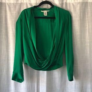 DVF 70's Style Emerald Green Silk Blouse